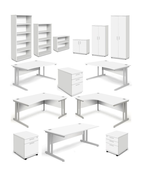 Aspire White Office Desks