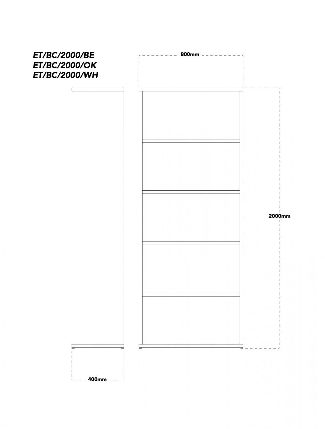 White Office Bookcase 2000mm High Aspire Bookcase ET/BC/2000/WH