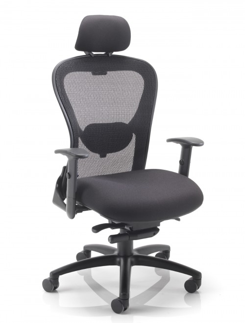 Office Chairs - TC Strata 24 Hour Heavy Duty Mesh Office Chair CH0735BK