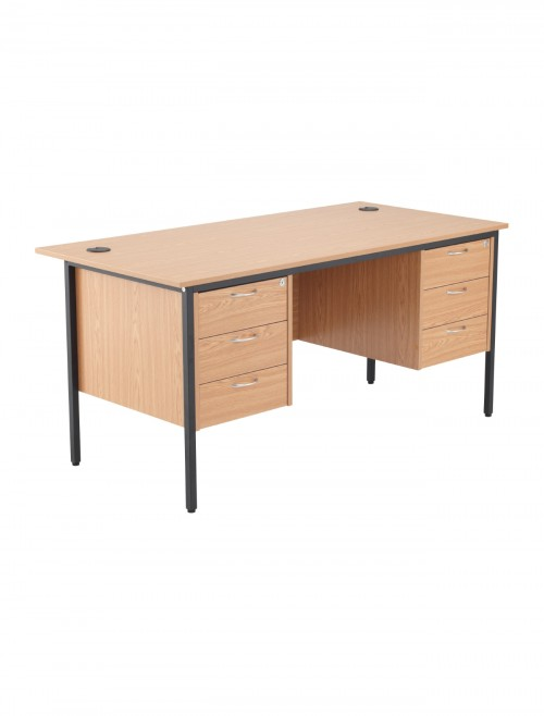 Oak Office Desk 1532x746mm TC Start18 STB15RECDRW6OK