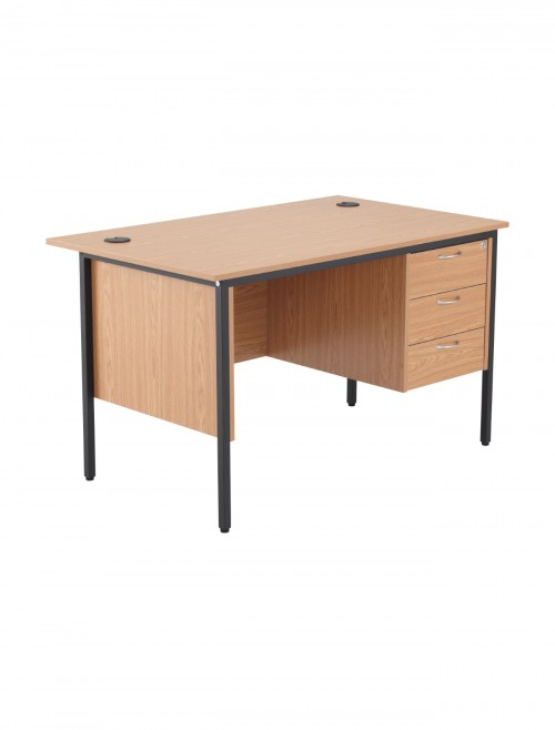 Oak Office Desk 1228x746mm TC Start18 STB12RECDRW3OK