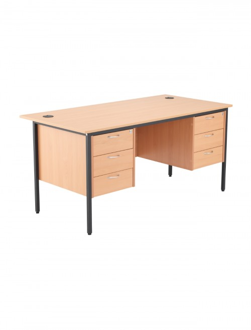 Beech Office Desk 1532x746mm TC Start18 STB15RECDRW6BE