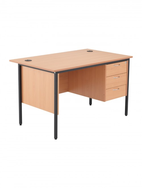 Beech Office Desk 1532x746mm TC Start18 STB15RECDRW3BE
