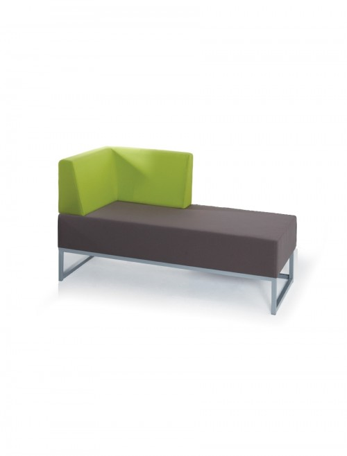 Modular Soft Seating - Dams Nera Double Bench with Right Hand Back and Arm NERA-D-BRA
