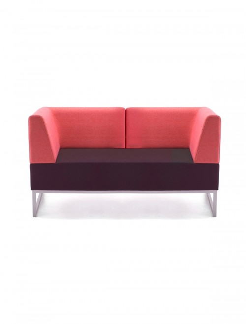 Modular Soft Seating - Dams Nera Double Bench with Back and Two Arms NERA-D-BRABLA