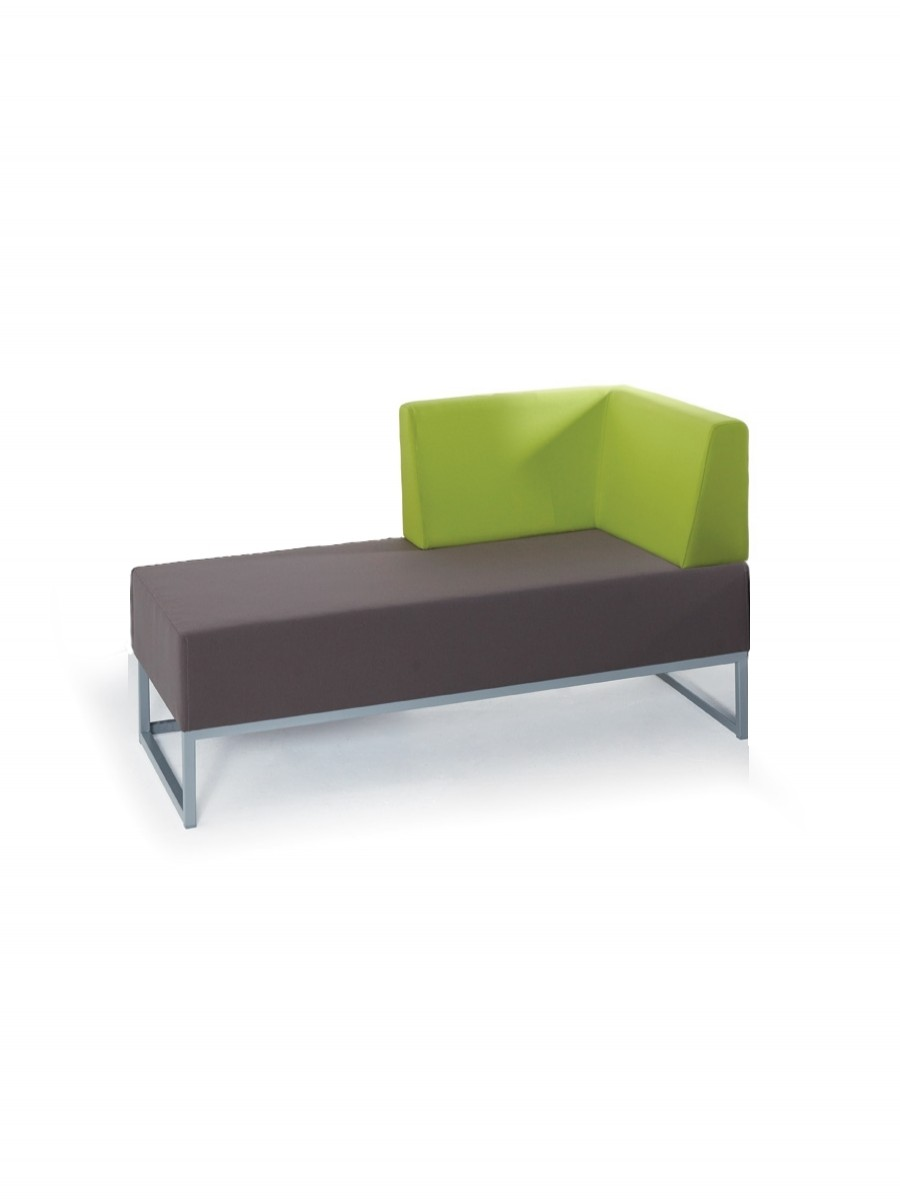 Modular Soft Seating - Dams Nera Double Bench with Left Hand Back and Arm NERA-D-BLA