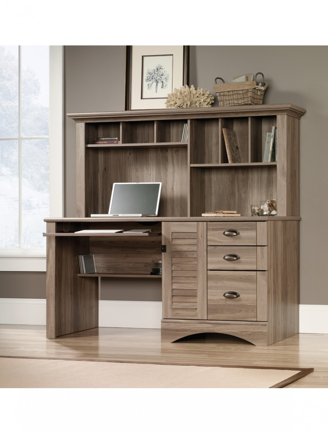 Home Office Desks Teknik Louvre Hutch Office Desk