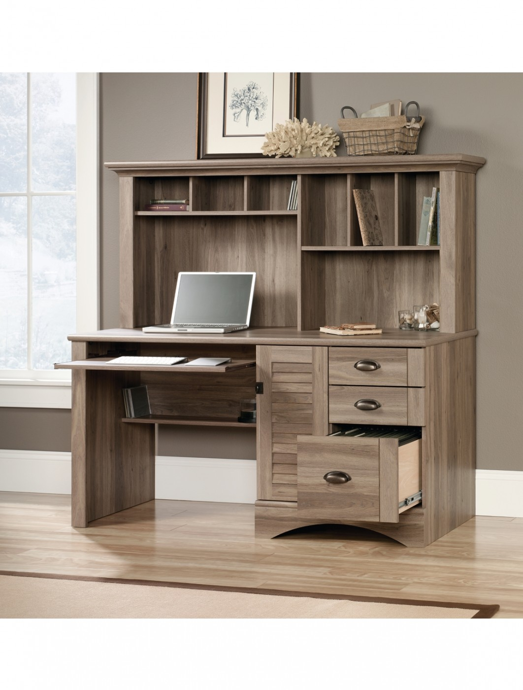 Home Office Desks Teknik Louvre Hutch Office Desk 5415109
