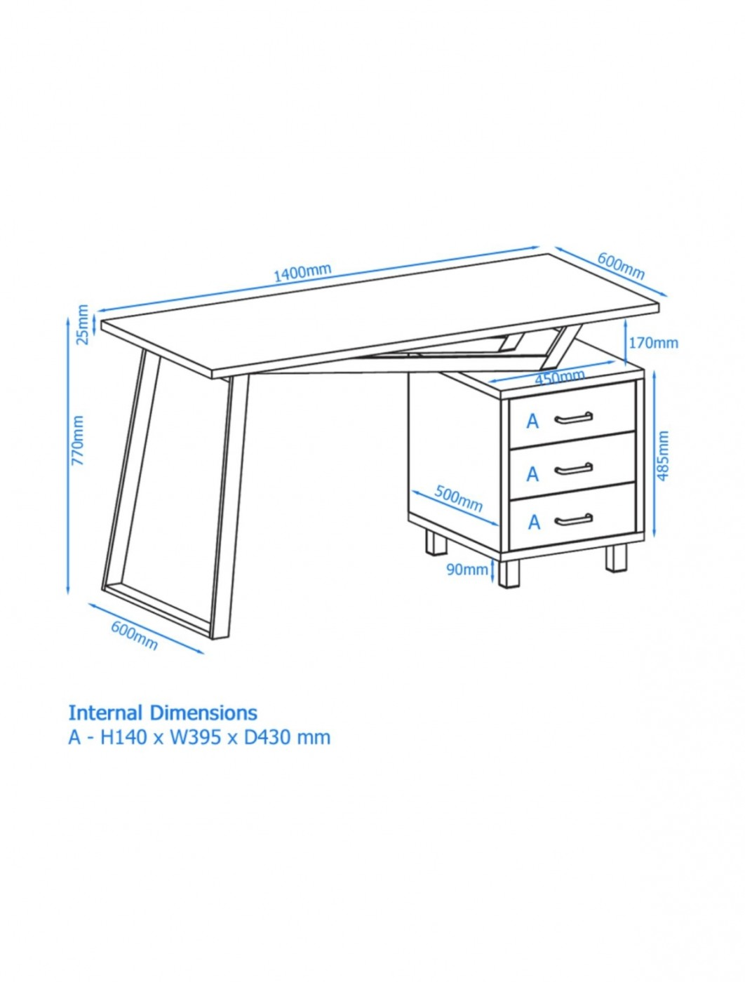 Home Office Desks - Alphason Seattle Home Office Desk AW23533 ...