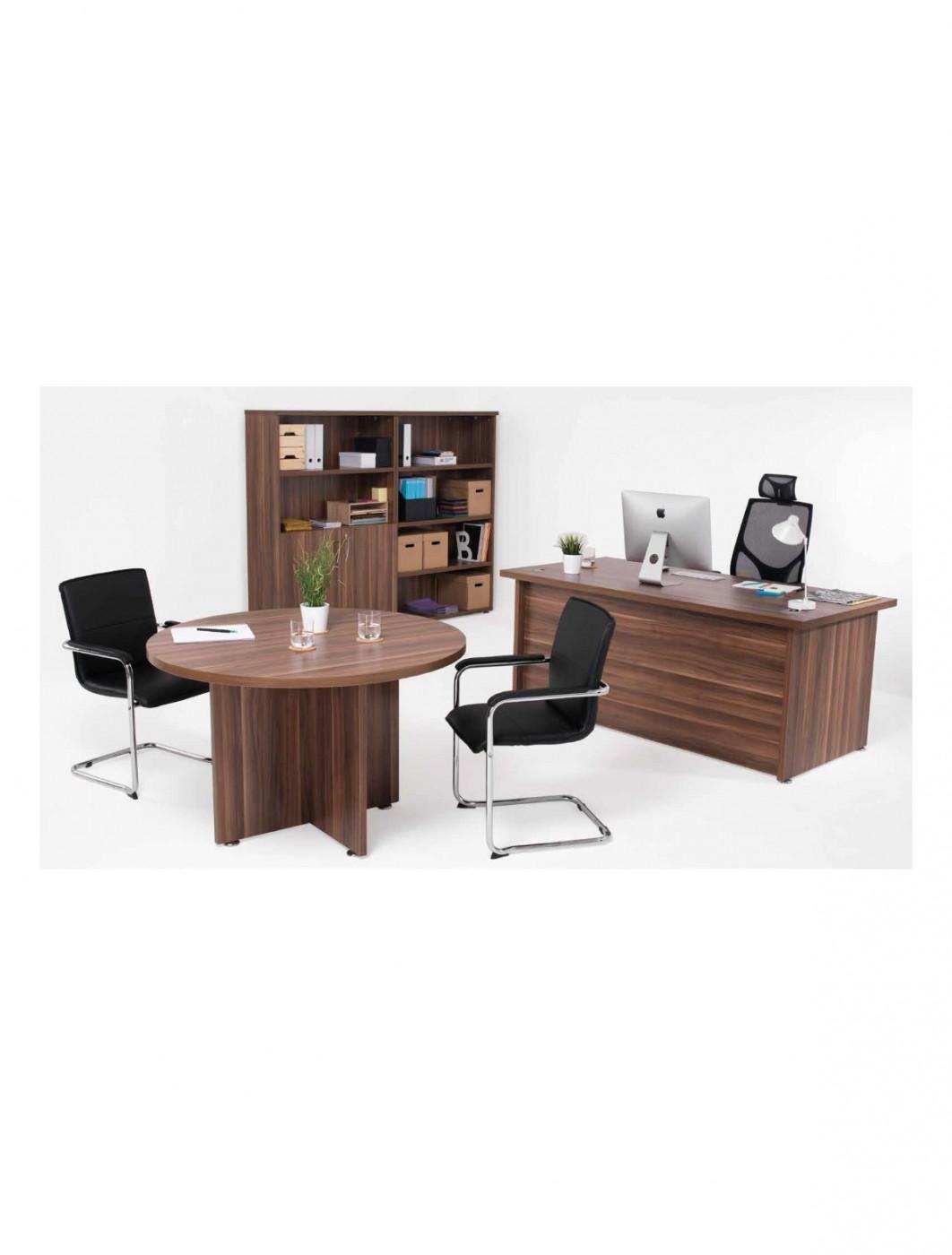 Dark walnut office desks tc regent executive round meeting table tr1200mtdw enlarged view