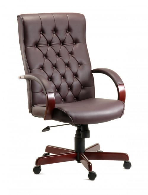 Office Chairs - Warwick Traditional Styled Exec Leather Chair B8501