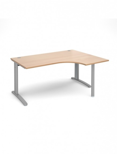 Beech Office Desk 1600mm Wide Dams TR10 Right Hand Ergonomic TBER16B