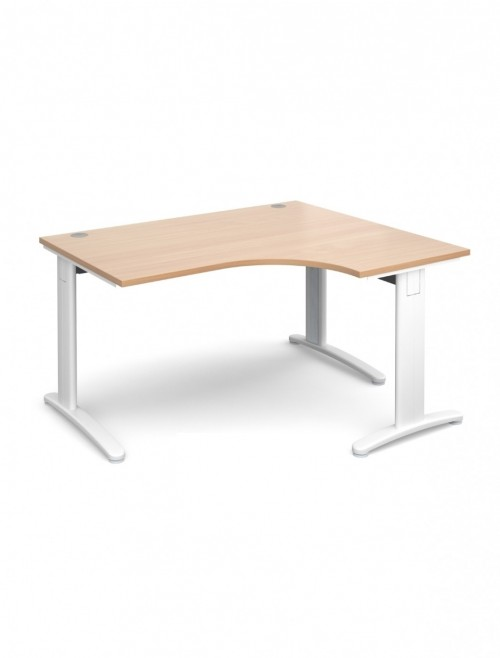 Beech Office Desk 1400mm Dams TR10 Right Hand Ergonomic Deluxe TDER14B