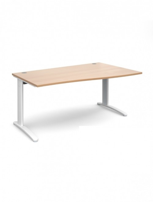Beech Office Desk 1600mm Dams TR10 Right Hand Wave Desk TWR16B