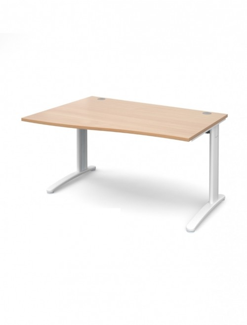 Beech Office Desk 1400mm Dams TR10 Left Hand Wave Desk TWL14B
