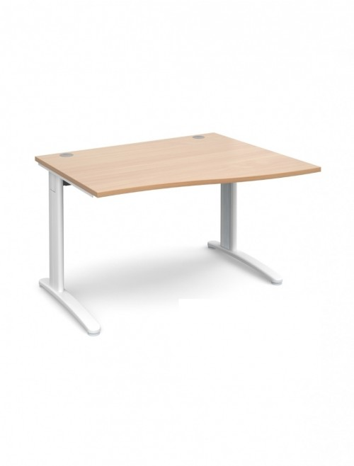 Beech Office Desk 1200mm Dams TR10 Right Hand Wave Desk TWR12B