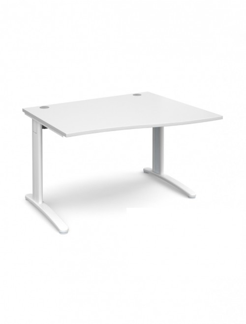 White Office Desk 1200mm Dams TR10 Right Hand Wave Desk TWR12WH