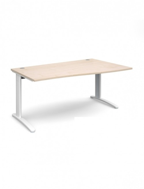 Maple Office Desk 1600mm Dams TR10 Right Hand Wave Desk TWR16M