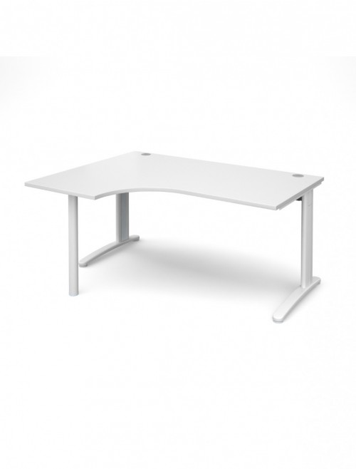 White Office Desk 1600mm Wide Dams TR10 Left Hand Ergonomic TBEL16WH