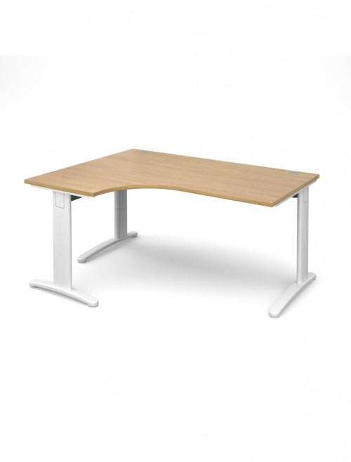 Oak Office Desk 1600mm Dams TR10 Left Hand Ergonomic Deluxe TDEL16O