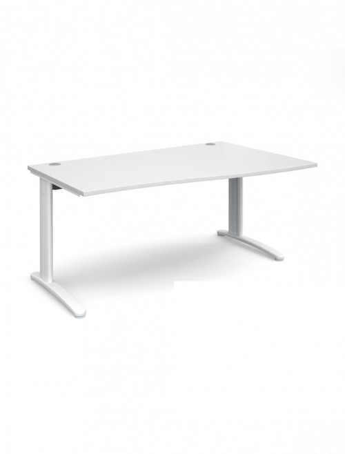 White Office Desk 1600mm Dams TR10 Right Hand Wave Desk TWR16WH