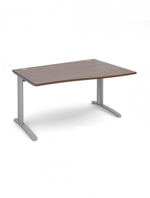 Walnut Office Desk 1400mm Dams TR10 Right Hand Wave Desk TWR14W