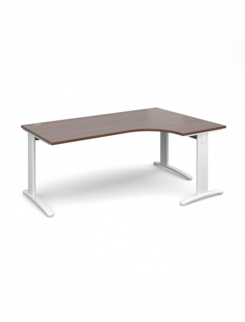 Walnut Office Desk 1800mm Dams TR10 Right Hand Ergonomic Deluxe TDER18W