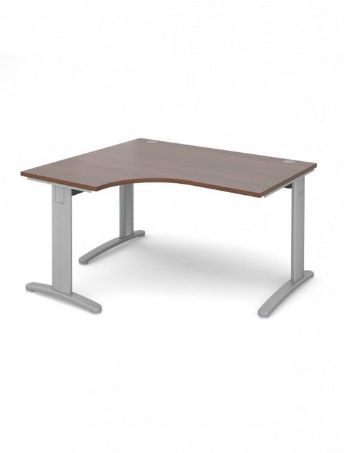 Walnut Office Desk 1400mm Dams TR10 Left Hand Ergonomic Deluxe TDEL14W
