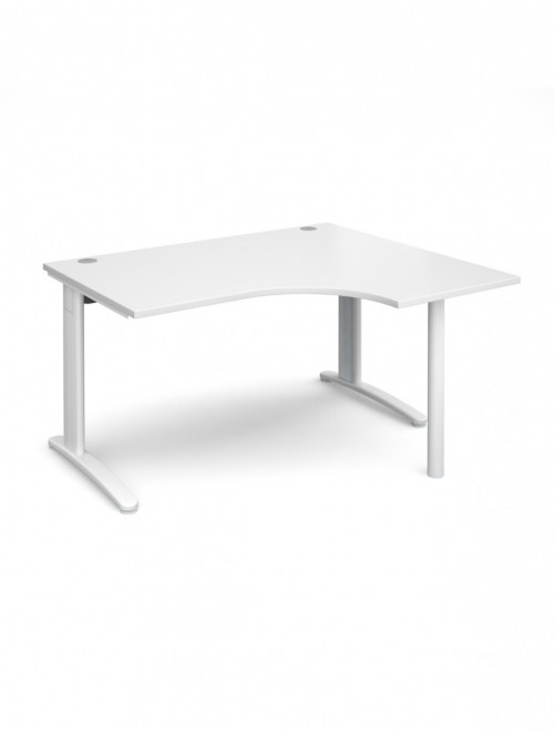 White Office Desk 1400mm Wide Dams TR10 Right Hand Ergonomic TBER14WH