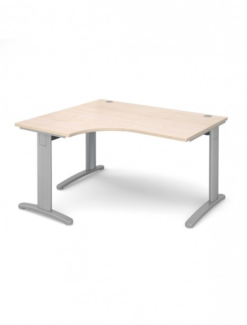 Maple Office Desk 1400mm Dams TR10 Left Hand Ergonomic Deluxe TDEL14M