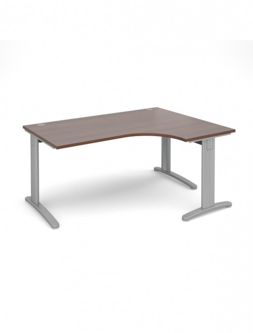 Walnut Office Desk 1600mm Dams TR10 Right Hand Ergonomic Deluxe TDER16W