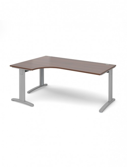 Walnut Office Desk 1800mm Dams TR10 Left Hand Ergonomic Deluxe TDEL18W