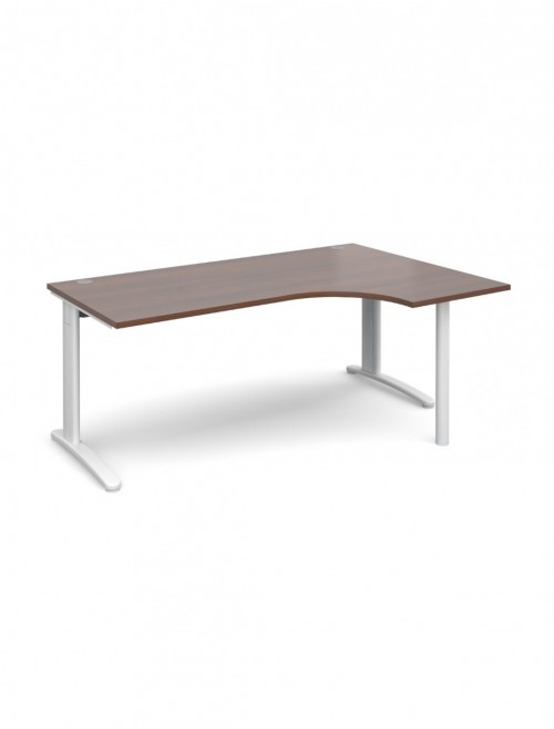 Walnut Office Desk 1800mm Dams TR10 Right Hand Ergonomic Desk TBER18W