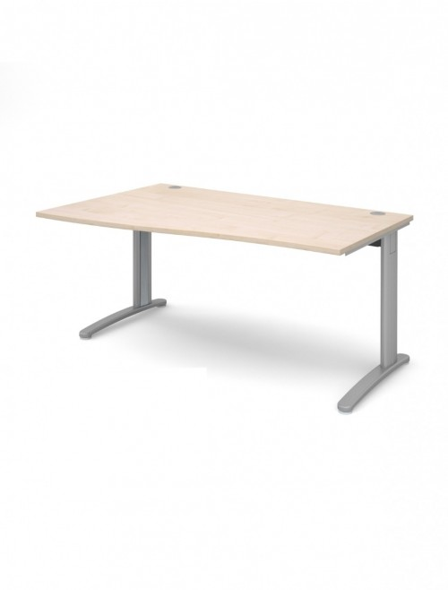 Maple Office Desk 1600mm Dams TR10 Left Hand Wave Desk TWL16M