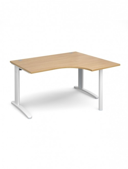 Oak Office Desk 1400mm Wide Dams TR10 Right Hand Ergonomic TBER14O