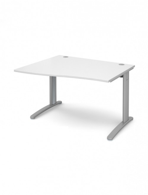 White Office Desk 1200mm Dams TR10 Left Hand Wave Desk TWL12WH