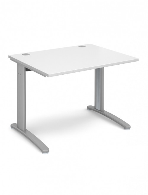 White Office Desk 1000x800mm Dams TR10 Desk T10WH