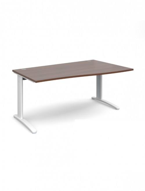 Walnut Office Desk 1600mm Dams TR10 Right Hand Wave Desk TWR16W
