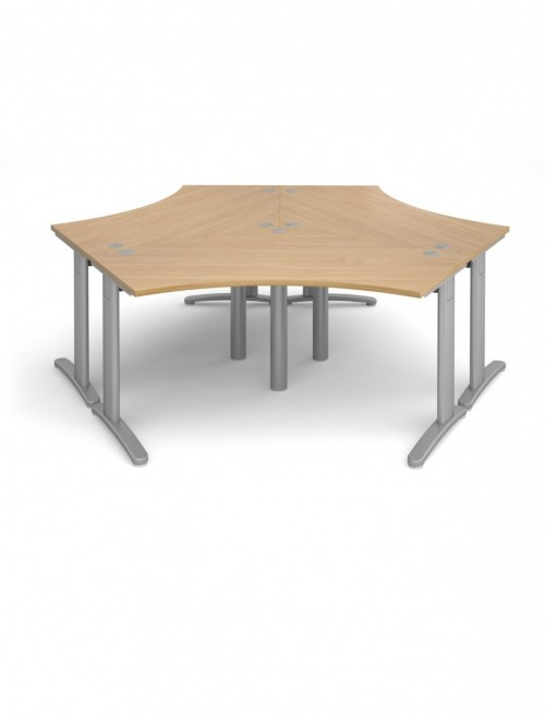Oak Office Desk Dams TR10 120 Degree Desk Cluster T120X3O