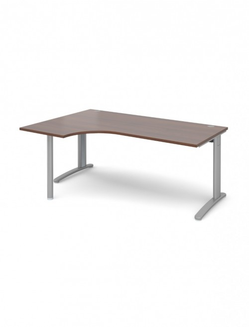 Walnut Office Desk 1800mm Dams TR10 Left Hand Ergonomic Desk TBEL18W