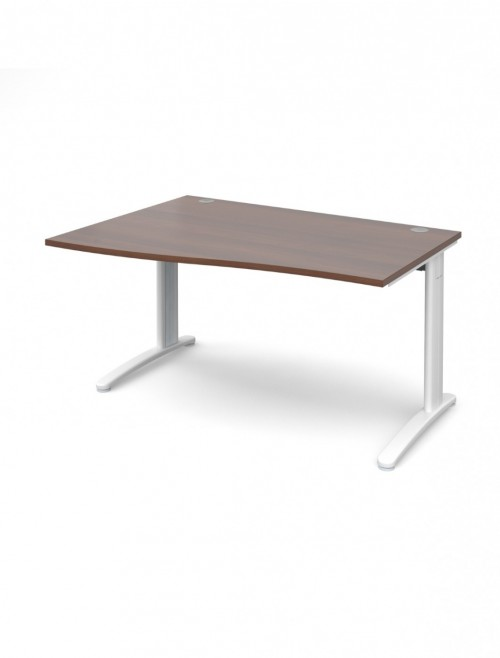 Walnut Office Desk 1400mm Dams TR10 Left Hand Wave Desk TWL14W