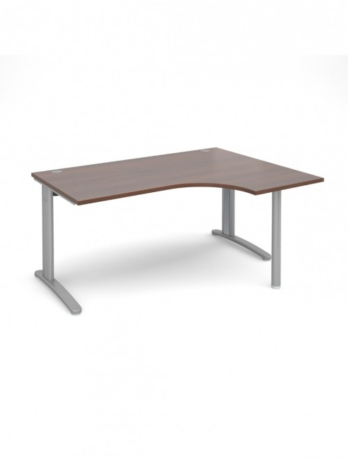 Walnut Office Desk 1600mm Dams TR10 Right Hand Ergonomic Desk TBER16W