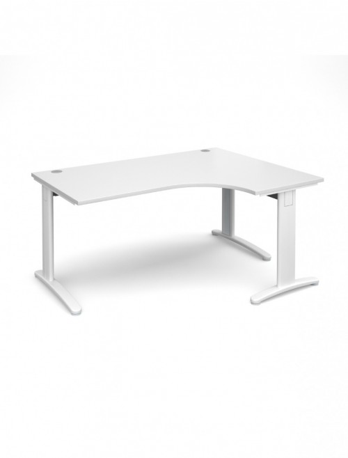White Office Desk 1600mm Dams TR10 Right Deluxe Ergo Desk TDER16WH