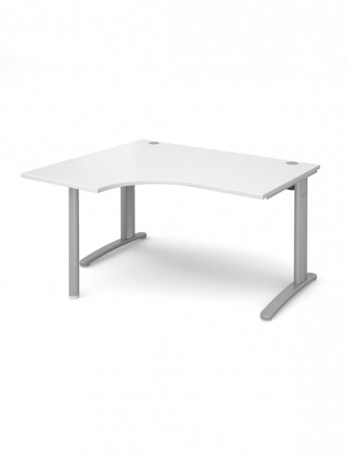 White Office Desk 1400mm Wide Dams TR10 Left Hand Ergonomic TBEL14WH