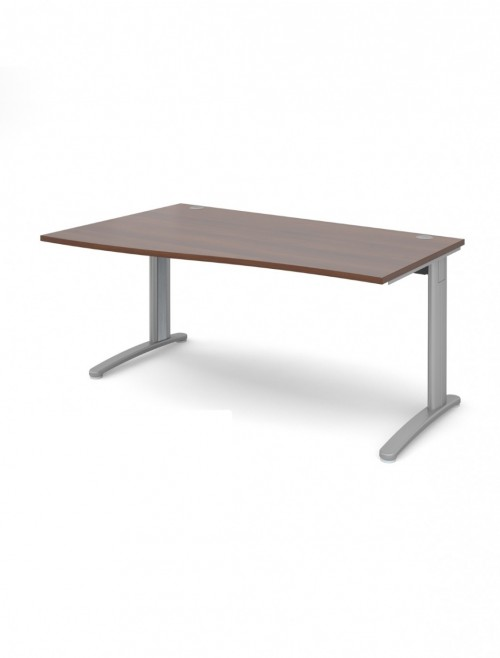 Walnut Office Desk 1600mm Dams TR10 Left Hand Wave Desk TWL16W