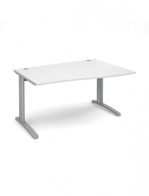 White Office Desk 1400mm Dams TR10 Right Hand Wave Desk TWR14WH