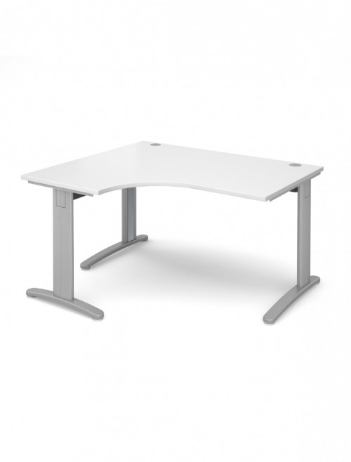 White Office Desk 1400mm Dams TR10 Left Hand Ergonomic Deluxe TDEL14WH