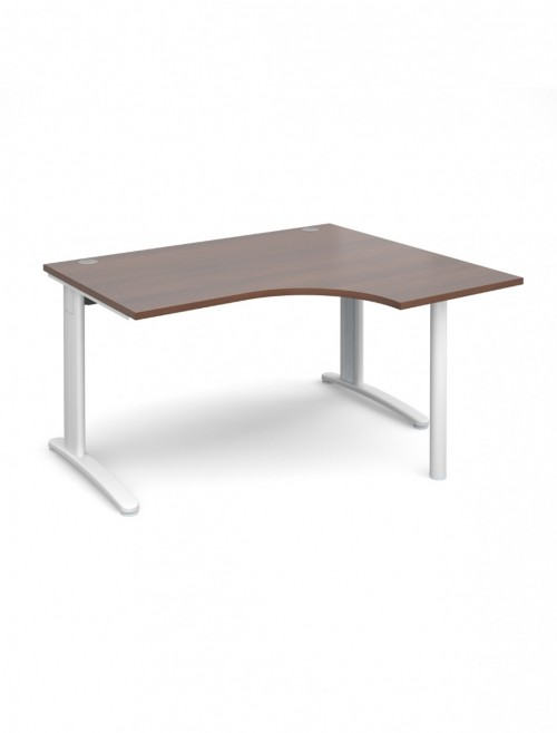 Walnut Office Desk 1400mm Dams TR10 Right Hand Ergonomic Desk TBER14W