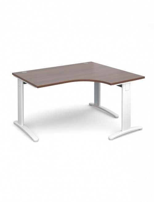Walnut Office Desk 1400mm Dams TR10 Right Hand Ergonomic Deluxe TDER14W