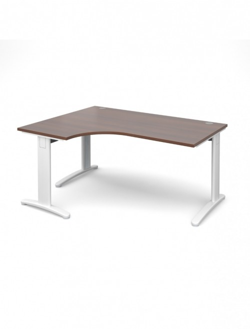 Walnut Office Desk 1600mm Dams TR10 Left Hand Ergonomic Deluxe TDEL16W